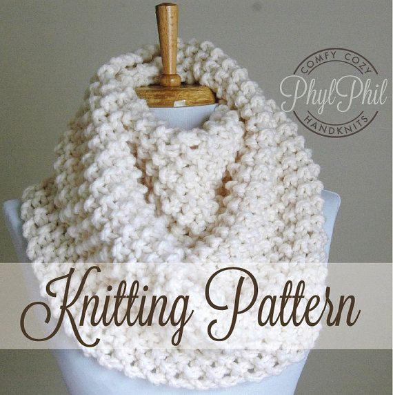 KNITTING PATTERN  Infinity Scarf  Easy Beginner by PhylPhil