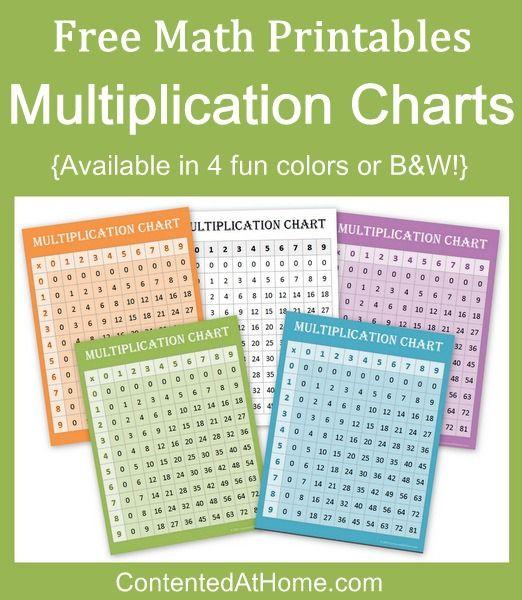 FREE Math Printables Multiplication Charts