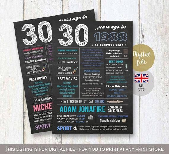 Uk Facts 30th Birthday Gift Idea For Him Men Women Her Best 30th Birthday Gifts For Men 30th Birthday Gifts 30th Birthday