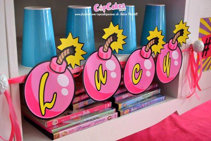 Bomb Name Banner from a Superhero Barbie Birthday Party via Kara's Party Ideas | KarasPartyIdeas.com (26)