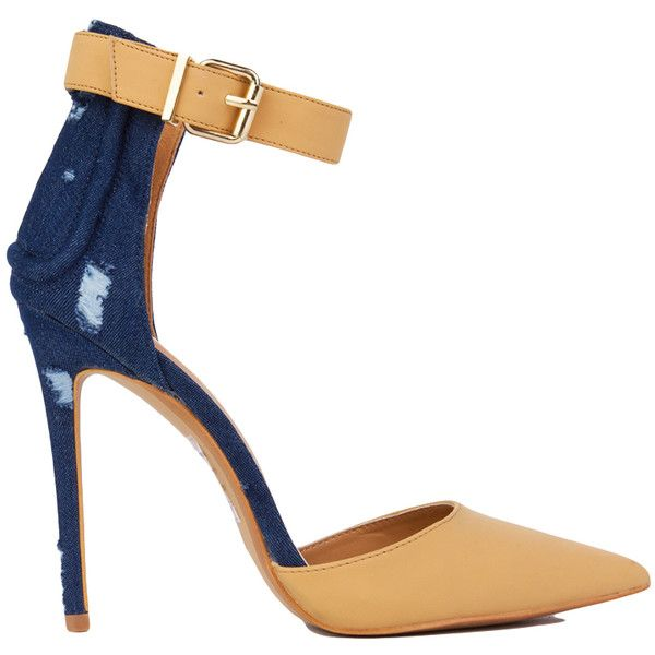 Pointed Toe Denim Ankle Strap Heels - Camel ($32) ❤ liked on Polyvore featuring shoes, pumps, heels, camel, pointy-toe pumps, heels & pumps, pointy toe shoes, pointed-toe pumps and high heel pumps