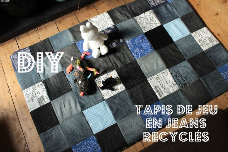 tuto tapis de jeu en jeans recycl s tuto diy jeans jeux b b pinterest jeans diy and. Black Bedroom Furniture Sets. Home Design Ideas