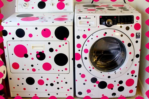 How to put polka dots on washer and dryer Hideous, but you get the concept. It's an easy way to add a little whimsy and fun. I think this is painted, which you wouldn't be able to do, so I suggest sticking with vinyl or electrical tape.