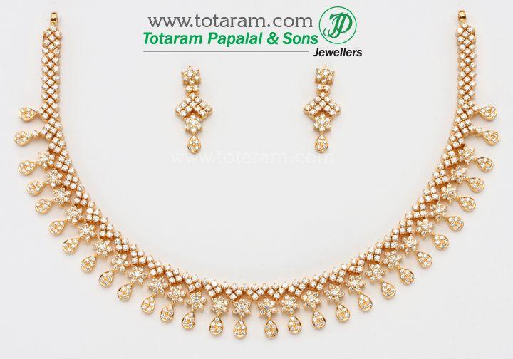 18K Gold Diamond Necklace & Earrings Set