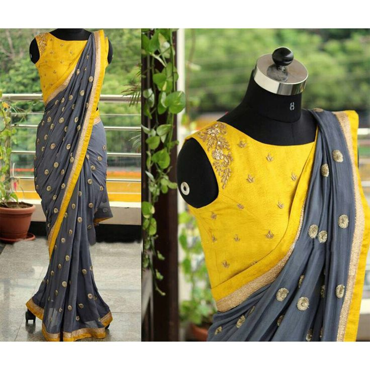 Shop Online Jhtex Georgette Grey Embroidered Saree - 2017 @ Rs.1469 at Indiarush. Best Discount ✓ Cash on Delivery ✓ Free Shipping✦ ✓14 Days Return ✓ All India Shipping.