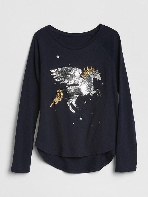 6b989d88104 Gap Girls Flippy Sequin Graphic T-Shirt Dark Night
