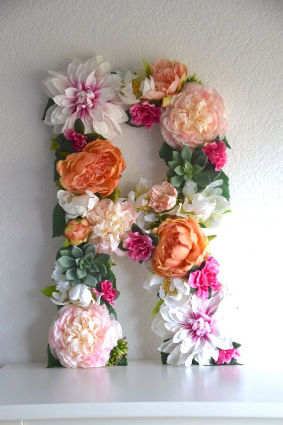 """$89.99 for a 19"""" floral letter that can be hung on the wall. These letters are perfect for bridal showers, wedding decor, baby showers, nursery decor, personalized gifts, birthday parties, photo shoot props, sorority events, and more."""