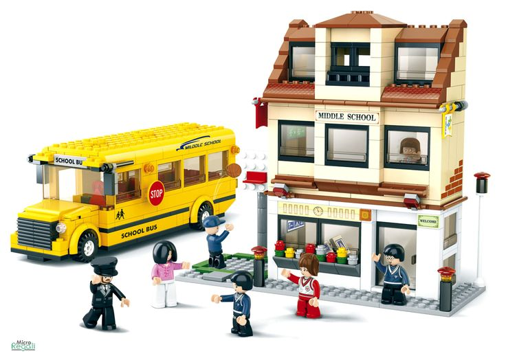 Costruzioni SCUOLABUS CON SCUOLA mattoncini 0333 Per bambini 6 anni Lego