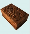 Walnut dragon box - Peerless box adorned with dragon & snake design.