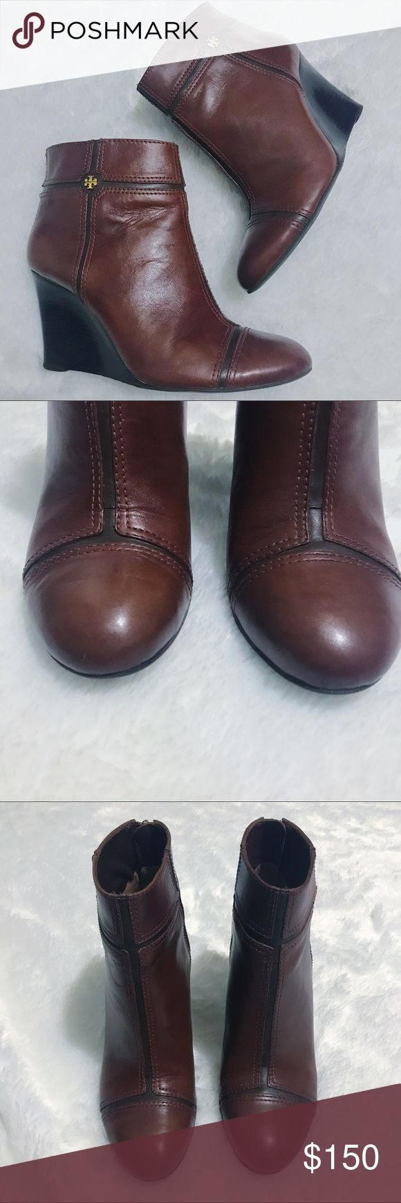"""EUC Tory Burch 8M Juliet Two Tone Wedge Booties Excellent preloved condition! Contrast leather forms geometric panels. 3 1/2"""" stacked wedge heel. Round cap toe. Small nick in the leather on the right toe. Golden signature double-""""T"""" at left ankle. Zip backstay. Padded leather insole and leather lining. Leather outsole with rubber insets for traction. Some marks on the sole typical of some wear. """"Juliet"""" is made in Brazil. Tory Burch Shoes Ankle Boots & Booties"""