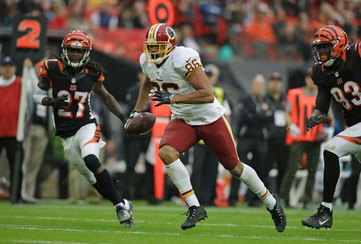 Redskins vs. Bengals:      October 30, 2016  -  TIE: 27-27  -    Washington Redskins tight end Jordan Reed (86) runs in to score a touchdown during an NFL game between the Cincinnati Bengals and the Washington Redskins at Wembley Stadium in London, Sunday Oct. 30, 2016.