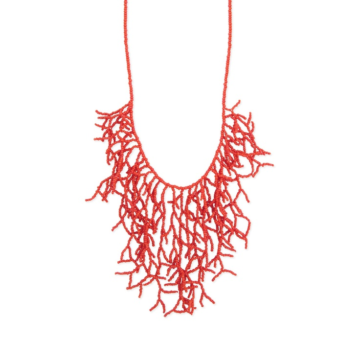 Coral Coral Seed Bead Bib Necklace by 'ZAD: Coral Necklaces, Beads Branches, Coral Beads, Beads Necklaces, Seeds Beads, Beads Bibs, Branches Bibs, Bib Necklaces, Bibs Necklaces