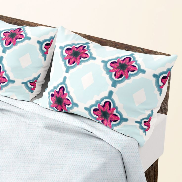 bringing unique style to your bedroom with these set of 2  Flower Mosaic Pillows - Natalia CA.