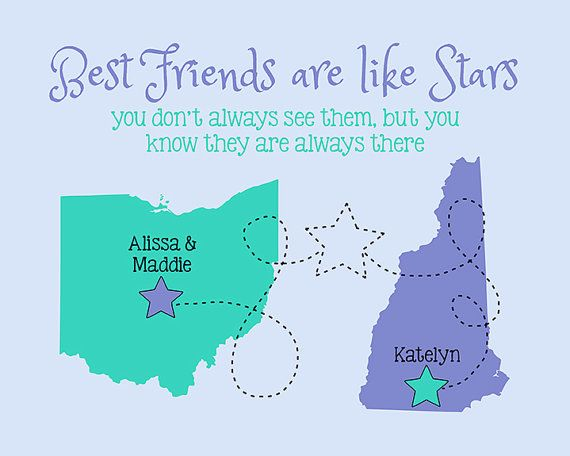 Best Friend Present, Custom Going Away Gift, Popular Best Friend Gift, Friendship, Stars, Childhood Friend, Roommate, Sister, Family, Mom