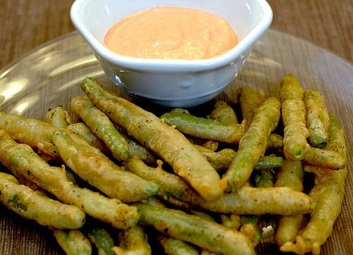 Fried Green Beans w/spicy chipotle sauce. (or a mayo and horseradish sauce)