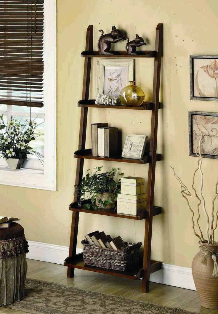 Home Library Ladder: 5 Tier Leaning Shelf