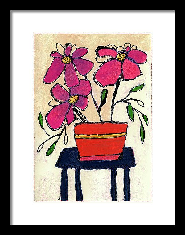 Floral Framed Print featuring the painting Trois Fleurs by Tonya Doughty