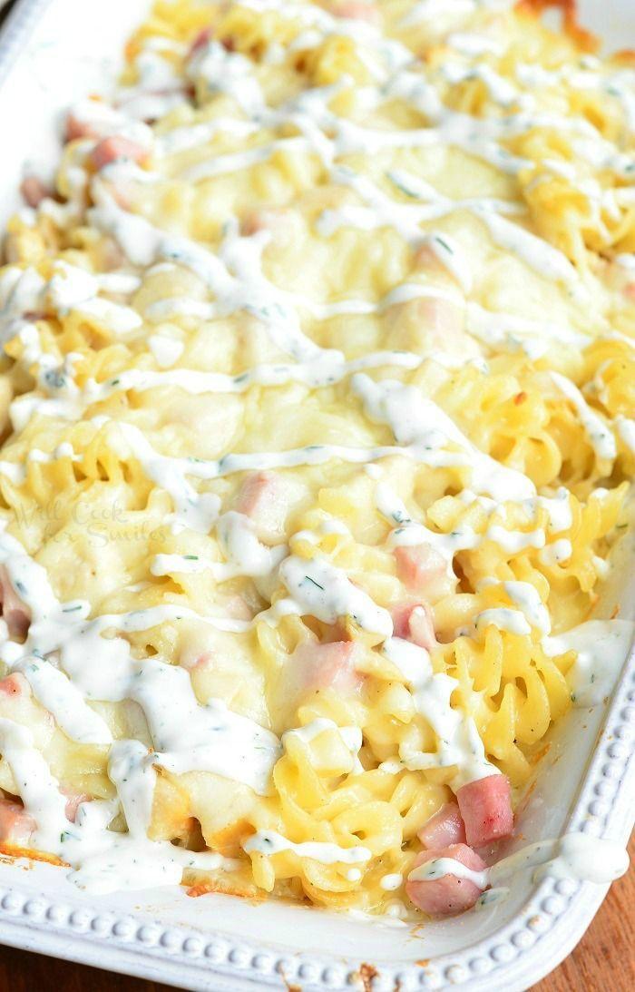 Creamy Chicken Cordon Bleu Pasta Casserole | from willcookforsmiles.com