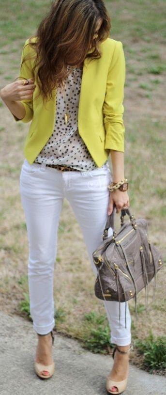 yellow blazer white jeans blouse. women fashion clothing style apparel @RORESS closet ideas