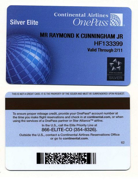 Continental Airlines |  OnePass Card | Silver Elite