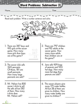 Worksheets: Word Problem Fun: 3-Digit Subtraction at the Game ...