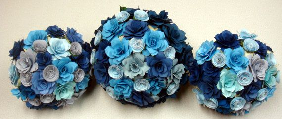 Navy Blue and other Blues Paper  Flower Roses Wedding Bouquet  by SweetPeaPaperFlowers, $125.00