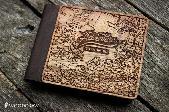 Wooden Leather Wallet, Personalized Leather Wallets, Wood wallet, Mens wallet Adventure Groomsmen gift Boyfriend gift Husband gift Mens gift