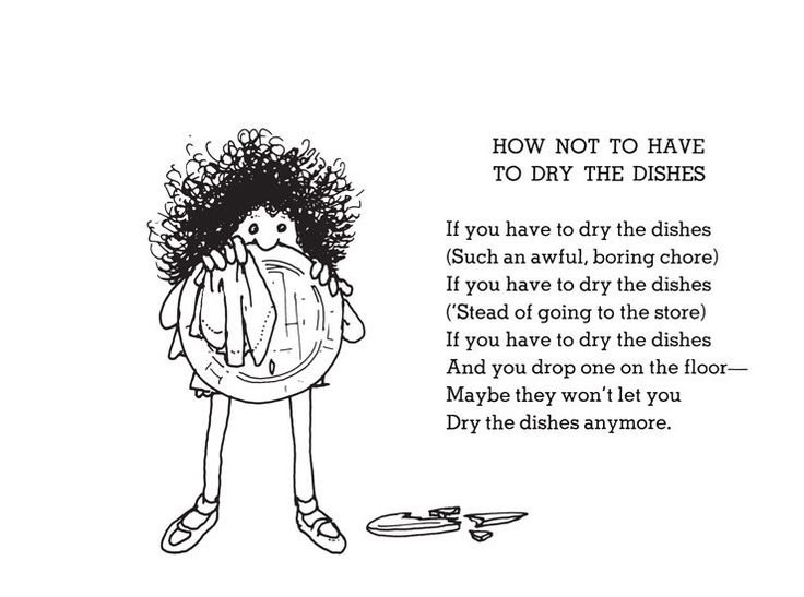 shel silverstein poems drying dishes Saw this framed in someone's kitchen - Genius!