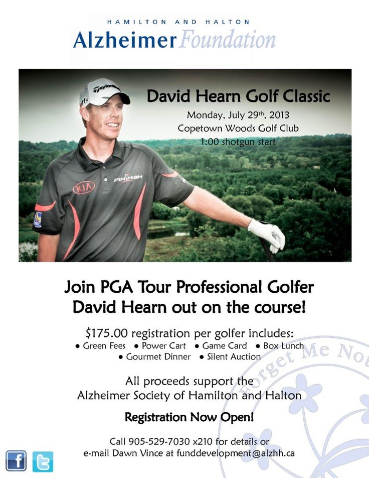 David Hearn to host the Alzheimer Society of Hamilton/Halton's annual golf tournament, come out and meet David Hearn