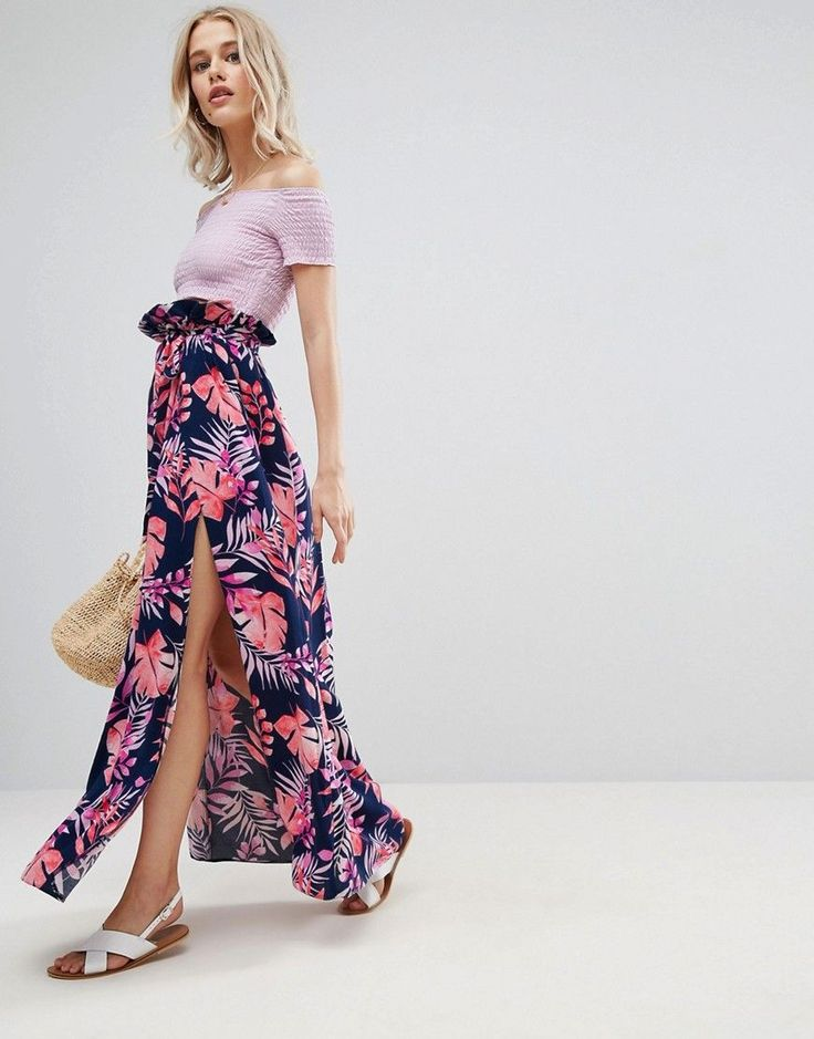 ASOS Maxi Skirt with Belt and Thigh Split in Tropical Print - Multi