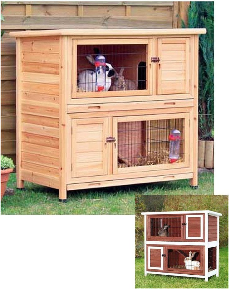 Two single hutches combined by an inside hatch and ramp. Use separately or turn the top hutch into an attic retreat area with a hatch door for restricted access. Lockable front hatch and flip-top roof
