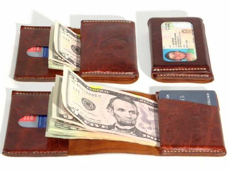 The most compact wallet possible, no folding bills necessary. Holds 10 cards and 15 bills in three pockets plus reversible ID window.