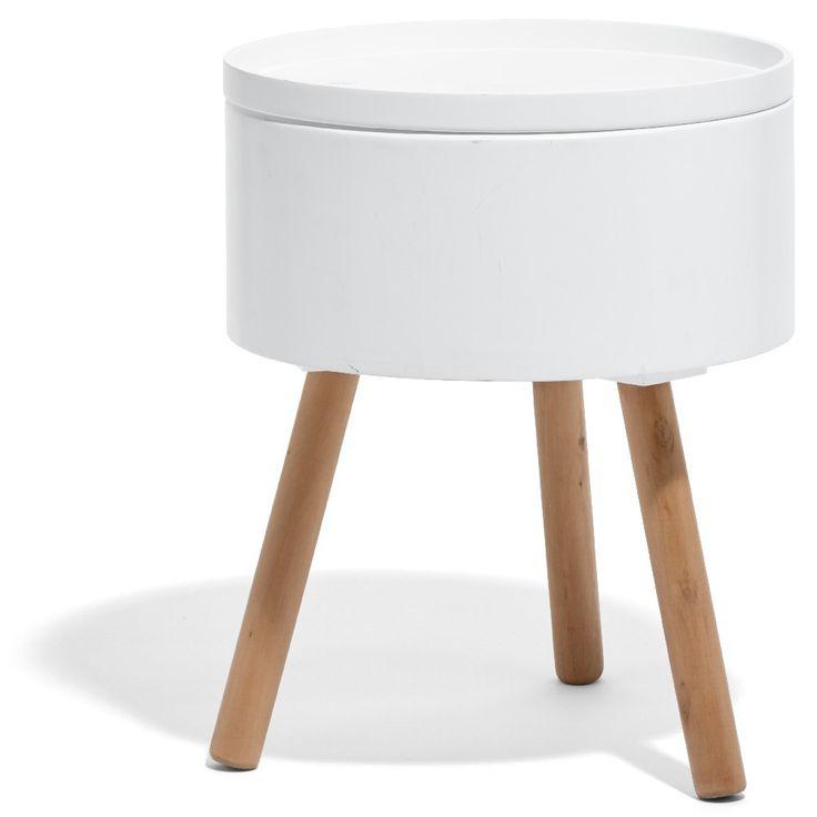 Bout de canapé coffre, style scandinave, dim. Ø38xh.45 cm, MDF (panneau de fibres de bois).