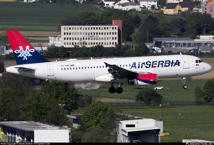 Air Serbia Airbus A320-232 YU-APH aircraft, on short finals to Suisse Zurich Kloten International Airport. 08/05/2016.