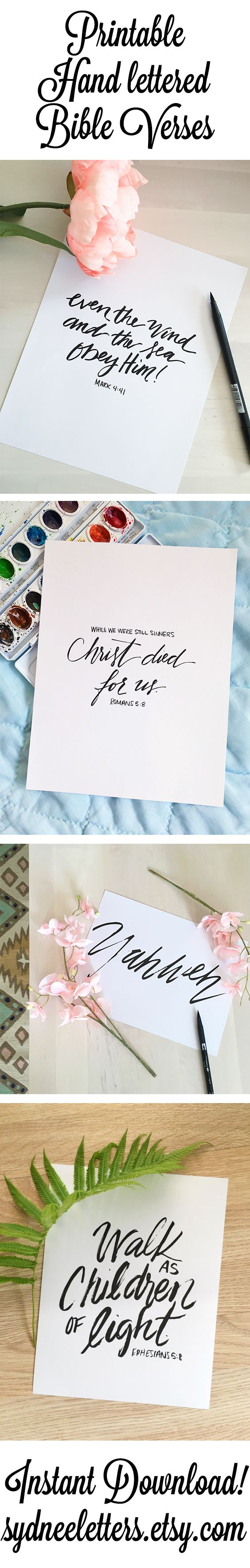 Need modern encouraging art for your home or office? Instantly download Hand lettered Bible prints now for just $5! Check out sydneeletters.etsy.com