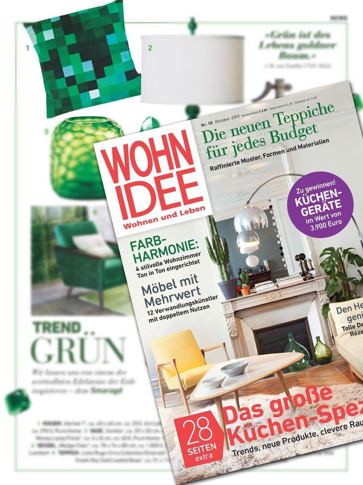 Smaragdgrün #Kissen von ART LEKONT jetzt im aktuellen #Wohnidee Magazin