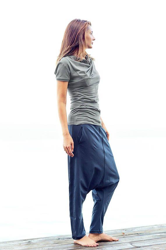 27793abe0e Muted Blue Trousers / Cotton Drop Pants /Yoga Wear / Blue Drop Bottom Pants  / Harem Pants / Cottoned Loose Bottom by Arya Sense / P3DJ17MB