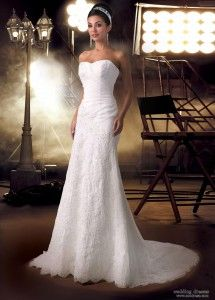 The Column Wedding Dress Has A Very Slim Shape That Flows Straight Down From Neckline