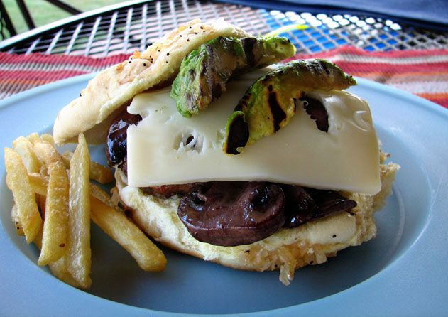 Grilled Avocado and Sauteed Mushroom Swiss Burger | Dixie Chik Cooks