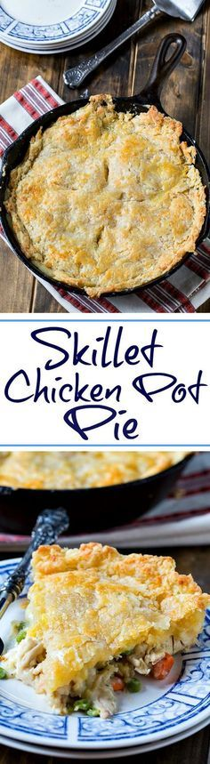 ^^ Chicken Pot Pie with Cheddar Crust - cooking this pot pie in a cast iron skillet makes it a one dish meal.