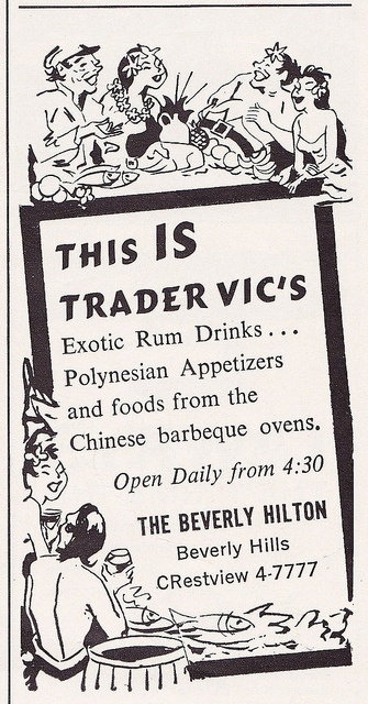 Trader Vic's at the Beverly Hilton Ad 1962