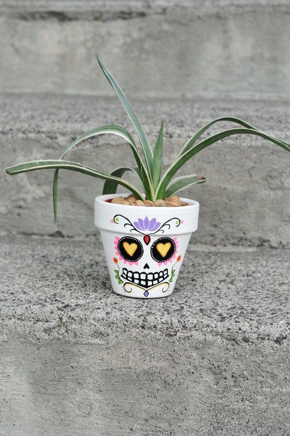 Day of The Dead Sugar Skull: FELIPE! Hand Painted Flower Pot Ceramic For Your Artistic Home!