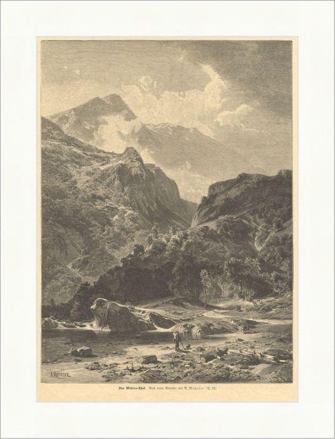 Das Mesocco Thal Graubünden Schweiz Moesa Gebirge Metzener Holzstich E 15528 | eBay
