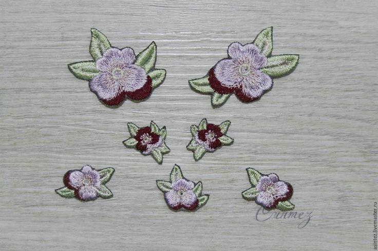 Купить вышивка аппликация Анютины глазки сиреневые - аппликация вышивка, цветок вышитый, цветочная аппликация