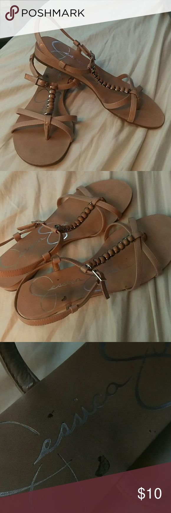 Jessica Simpson Sandals Authentic, like new Jessica Simpson Sandals. There is a small scuff mark on the sandal itself, but otherwise these shoes are flawless with no other marks, wear, or indentations. They have only been worn twice. I won't be accepting trades on this item. Please let me know if you have any questions! Jessica Simpson Shoes Sandals