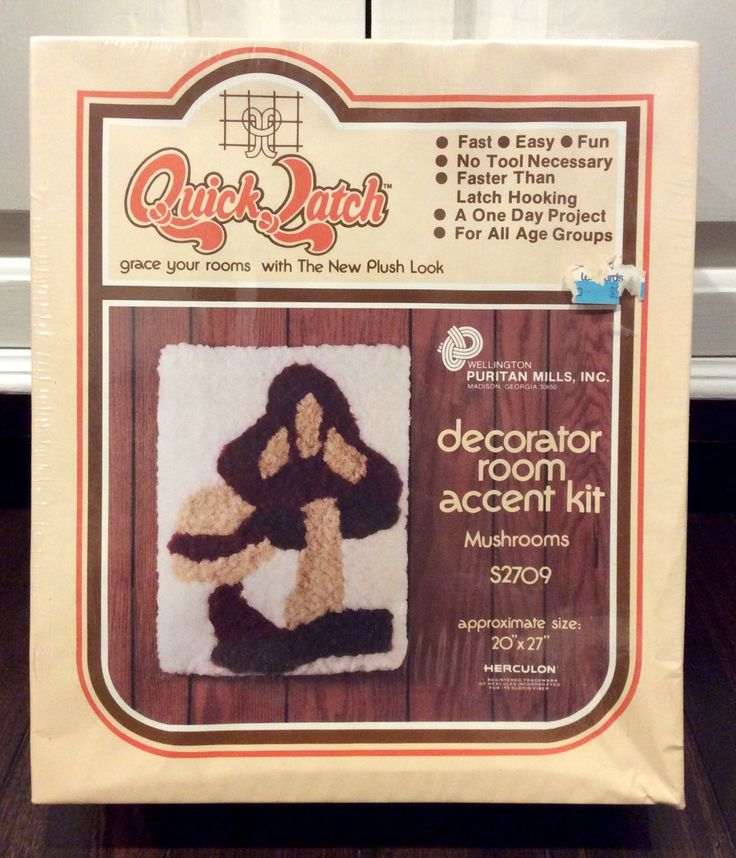 Vintage Mushroom Quick Latch Rug Kit NIB, Vintage Latch Hook Rug Kits, Mushroom Latch Hook, Latch Hook Wall Decor, Retro Latch Hook Kit by Lalecreations on Etsy