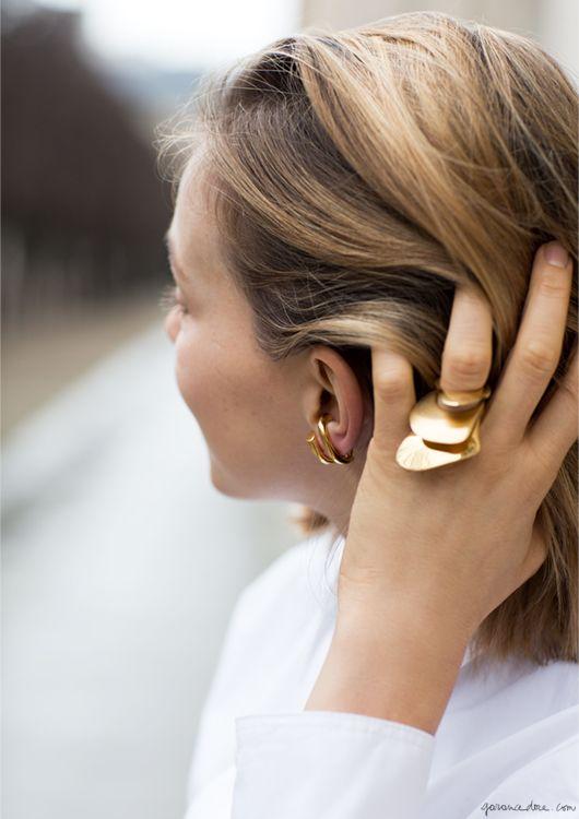 charlotte chesnai erik melvin garance dore photo | gold rings and hoops | casual look