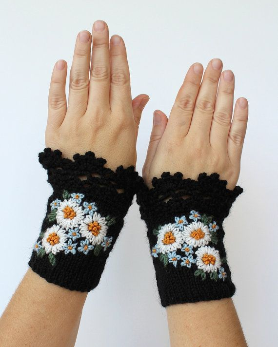 Knitted Fingerless Gloves, Chamomile, Forget-Me-Not, Black,Clothing And Accessories, Gloves & Mittens, Gift Ideas, For Her, Accessories