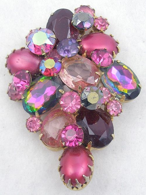 Pink Rhinestone & Watermelon Stones Brooch - Garden Party Collection Vintage Jewelry