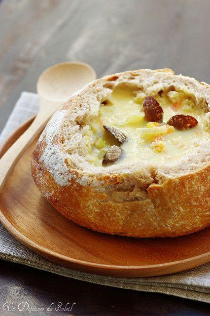 New England Clam Chowder in sourdough bread bowl